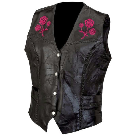 Picture of Live-ride-rock Ladies Rock Design Genuine Buffalo Leather Vest- 4x