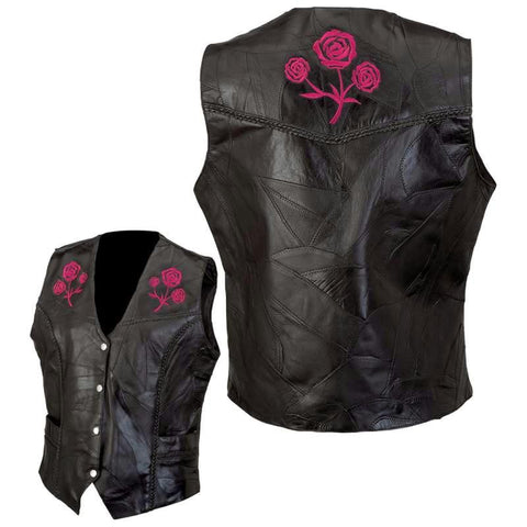 Picture of Live-ride-rock Ladies Rock Design Genuine Buffalo Leather Vest- Xl
