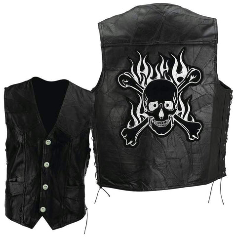 Picture of Diamond Plate Rock Design Genuine Buffalo Leather Motorcycle Vest- Sz L