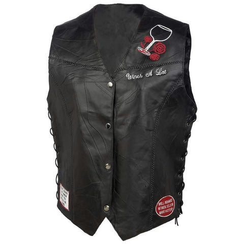 Picture of Diamond Plate Ladies Rock Design Genuine Leather Vest