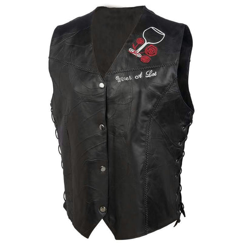 Picture of Diamond Plate Ladies Rock Design Genuine Leather Vest- L