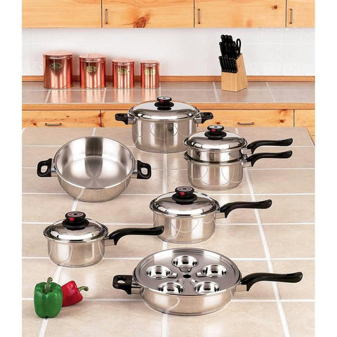 Picture of Worlds Finest 7-ply Steam Control 17pc T304 Stainless Steel Cookware Set