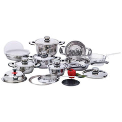 Chefs Secret 22pc 12-element, High-quality, Heavy-duty Stainless Steel Cookware Set- Element Ss Cookware St