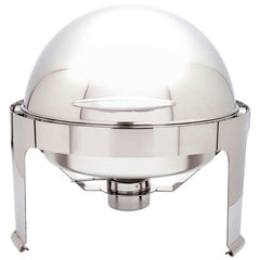 Maxam Heavy-duty Stainless Steel Round Chafing Dish With Roll Top For Professional Use