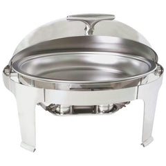Maxam Heavy-duty Stainless Steel Oval Chafing Dish With Roll Top For Professional Use
