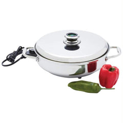 "Chefs Secret 12"" Round T304 Stainless Steel Deep Electric Skillet"