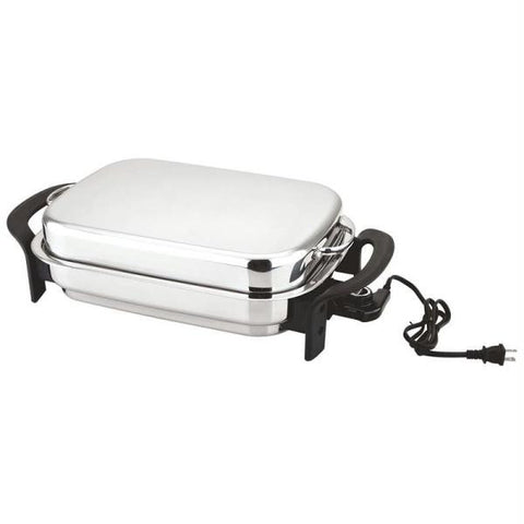 "Picture of Precise Heat 16"" Rectangular T304 Stainless Steel Electric Skillet With Dome Cover"
