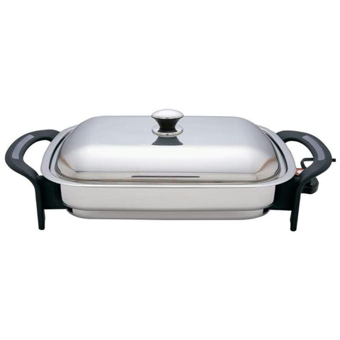 "Picture of Precise Heat T304 Stainless Steel 16"" Rectangular Electric Skillet"