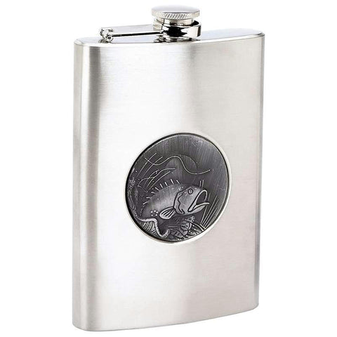 Picture of Maxam 8oz Stainless Steel Flask With Fishing Emblem