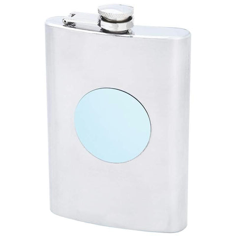 Picture of Maxam 8oz Stainless Steel Flask With Blue Round Medallion