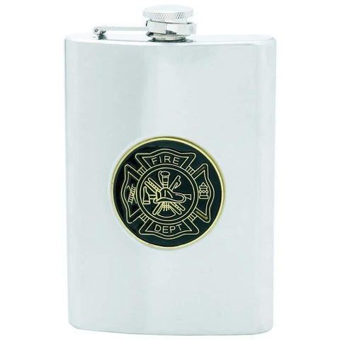 Picture of Maxam 8oz Stainless Steel Flask With Fire Department Medallion