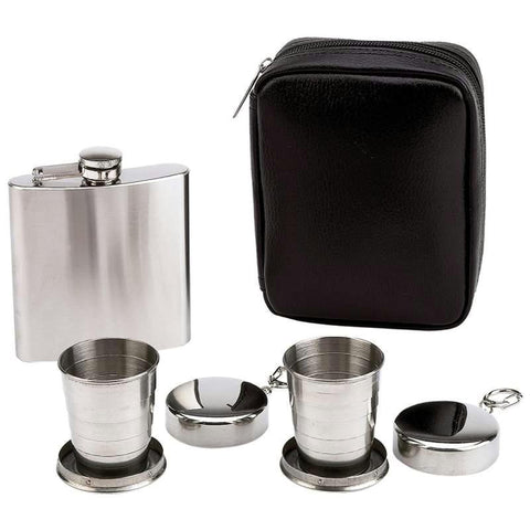 Picture of Maxam 4pc Flask And Collapsible Cups Set