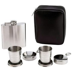 Maxam 4pc Flask And Collapsible Cups Set