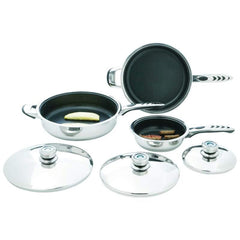 Precise Heat 6pc High-quality, Heavy-gauge Stainless Steel Non-stick Skillet Set- Stick, Ss Skillet Set