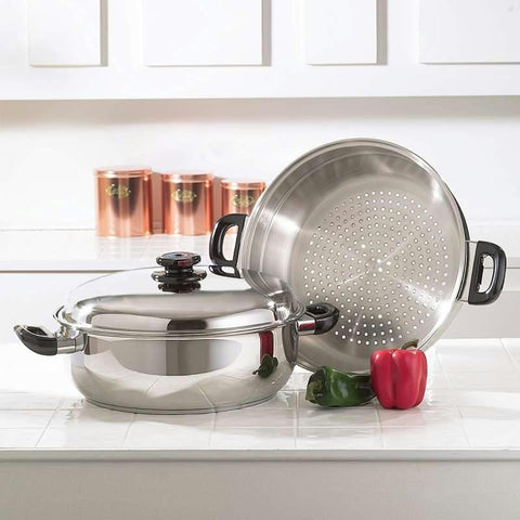 Picture of Precise Heat T304 Stainless Steel Oversized Skillet, Steamer And Cover