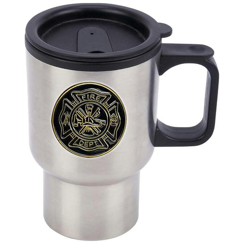 Picture of Maxam 14oz Stainless Steel Travel Mug With Fire Department Medallion