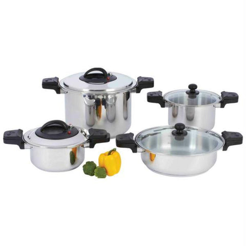 "Picture of Precise Heat 8pc ""waterless"" 12-element Stainless Steel Low-pressure, Pressure Cooker Set"