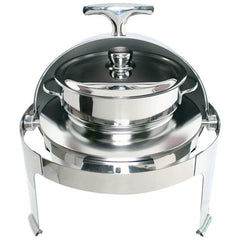 Maxam Heavy-duty Stainless Steel Round Soup Chafing Dish With Roll Top For Professional Use