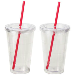 Maxam 2pc Double Wall 16oz Clear Tumbler Set- 2pc