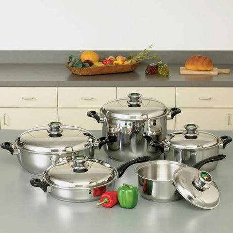 "Picture of Healthsmart 10pc 12-element ""waterless"" T304 Stainless Steel Cookware Set With Thermo Control Knobs"