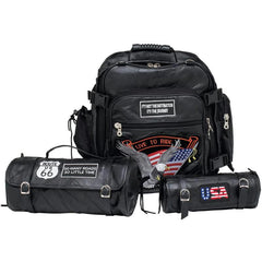Diamond Plate 3pc Rock Design Genuine Buffalo Leather Motorcycle Bag Set