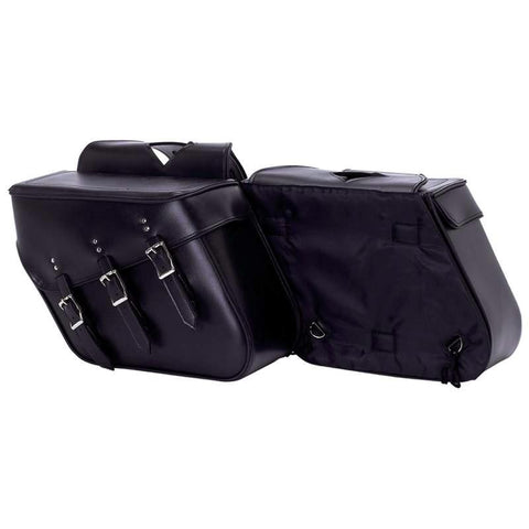 Picture of Diamond Plate 2pc Slanted Motorcycle Saddlebag Set Made Of Heavy-duty Waterproof Pvc