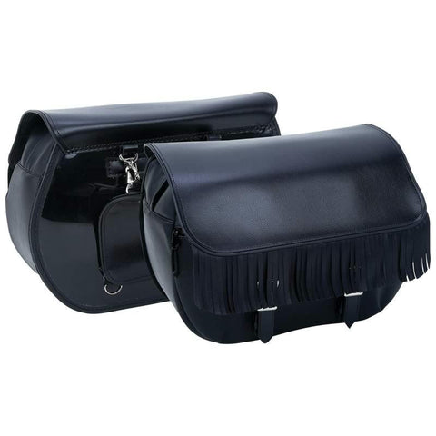 Picture of Diamond Plate Heavy-duty Waterproof Pvc Fringed Motorcycle Saddlebags