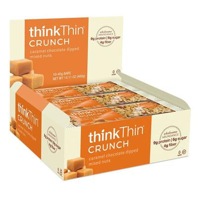 Picture of Think Products thinkThin Crunch Bar - Crunch Caramel Chocolate Dipped Mixed Nuts - 1.41 oz - Case of 10