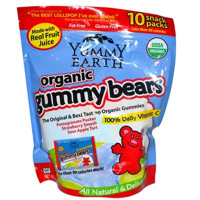Picture of Yummy Earth Organic Gummy Bears - Case of 120 Packs - .9 oz per Pack