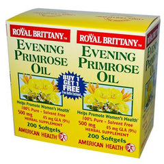 American Health Royal Brittany Evening Primrose Oil - 500 mg - 2 Bottles of 200 Softgels