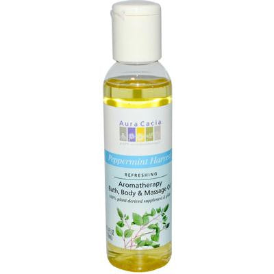 Picture of Aura Cacia Aromatherapy Bath Body and Massage Oil Peppermint Harvest - 4 fl oz