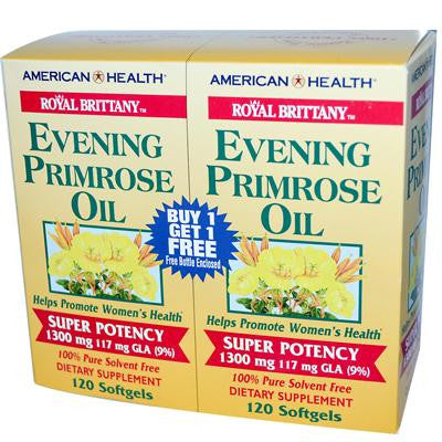 Picture of American Health Royal Brittany Evening Primrose Oil Twin Pack - 1300 mg - 120+120 Softgels