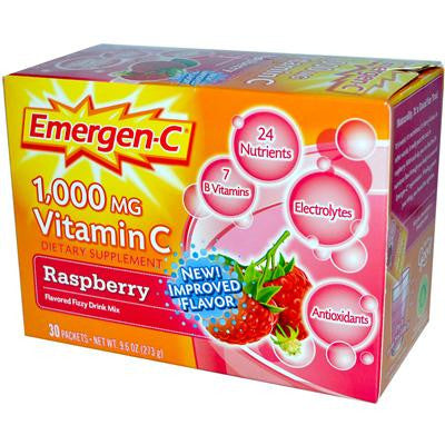 Picture of Alacer Emergen-C Vitamin C Fizzy Drink Mix Raspberry - 1000 mg - 30 Packets