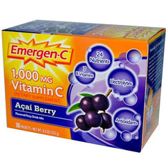 Alacer Emergen-C Vitamin C Fizzy Drink Mix Acai Berry - 1000 mg - 30 Packets