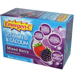 Alacer Emergen-C Vitamin D and Calcium Fizzy Drink Mix Mixed Berry - 30 Packets