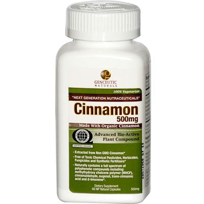 Picture of Genceutic Naturals Organic Cinnamon - 500 mg - 60 Capsules
