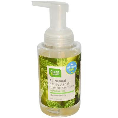 Picture of CleanWell All-Natural Antibacterial Foaming Hand Wash Spearmint Lime - 9.5 fl oz