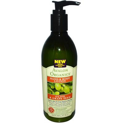 Picture of Avalon Organics Hand and Body Lotion Olive and Grape Seed Fragrance Free - 12 fl oz