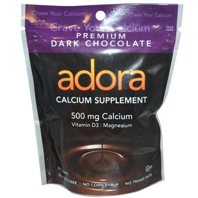 Picture of Adora Dark Chocolate Calcium Supplement - 30 Chewables - Case of 12