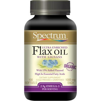 Picture of Spectrum Essentials Organic Ultra Enriched Flax Oil with Lignans - 100 Softgels