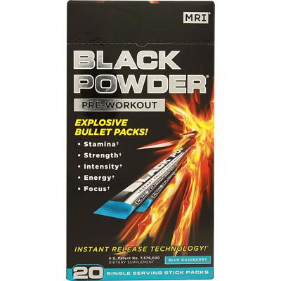 Picture of MRI Black Powder Pre-Workout Blue Raspberry - 20 Stick Packs