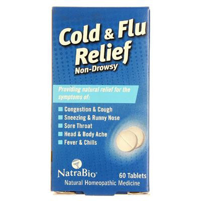 Picture of NatraBio Cold and Flu Relief Non-Drowsy - 60 Tablets