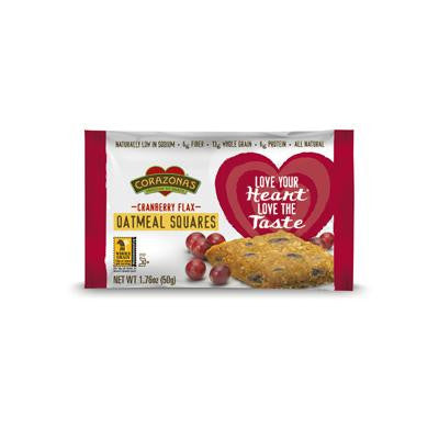 Picture of Corazonas Oatmeal Squares - Cranberry Flax - Case of 12 - 1.76 oz
