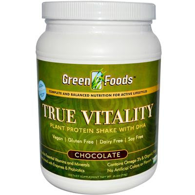 Picture of Green Foods True Vitality Plant Protein Shake with DHA Chocolate - 25.2 oz
