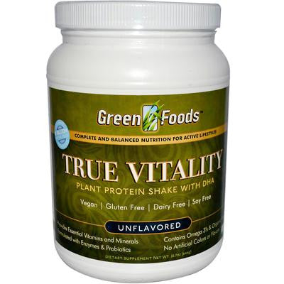 Picture of Green Foods True Vitality Plant Protein Shake with DHA Unflavored - 22.7 oz