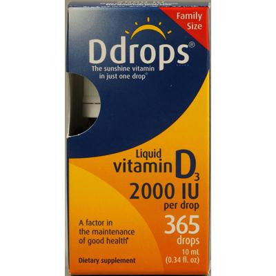 Picture of D Drops Liquid Vitamin D3 - 2000 IU - 0.34 fl oz