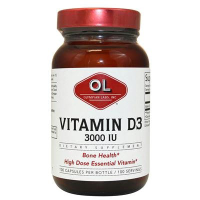 Picture of Olympian Labs Vitamin D3 - 3000 IU - 100 capsules