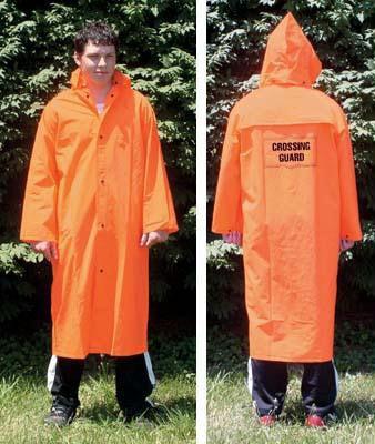 Picture of Orange Fluorescent Raincoat W/Emblem-Large