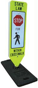 "Picture of Stop for Pedestrians w/in Crosswalk Sign-w/ Portable ""One Base"""