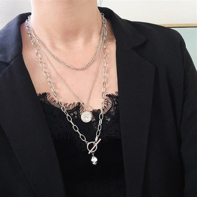 Cross Metal Multi-Layer Hip Hop Cool Necklace